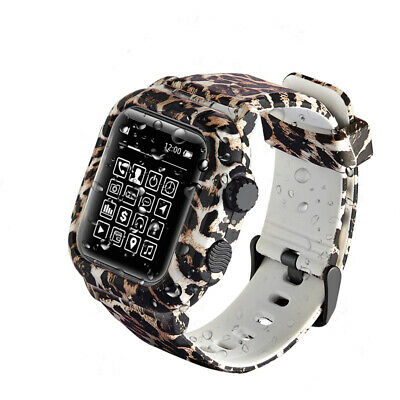 $ CDN22.78 • Buy For IWatch Series 6 5 4 3 2 Case Leopard Waterproof Silicone Band Strap Cover