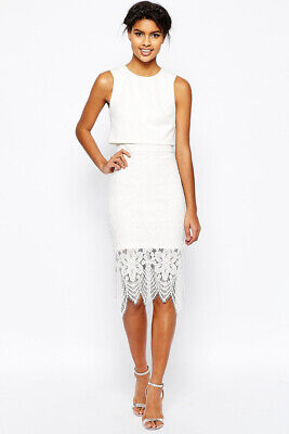 ASOS NEW Womens Fitted Overlay Top Lace Hem Midi Dress In White Sizes 8 To 18 • 17.99£