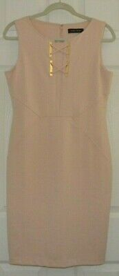 $ CDN50.58 • Buy Ivanka Trump Women's Gold Lace-Up Hardware Sheath Dress Size 8 - Peach / Blush