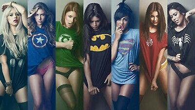 Marvel Comic Book Female Justice League Sexy Girls Canvas Art Movie Poster Print • 20£