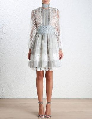 BNWT Authentic Zimmermann $1,995 Havoc Ticking Lace Dress • 375$