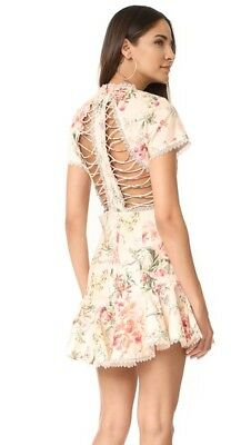 $328 • Buy New With Tag AUTH Zimmermann Mercer Flutter Lace Up Cream Floral Dress