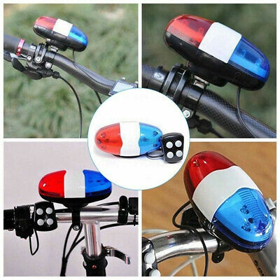 Bike Bicycle 4 Sounds Police Siren Trumpet Horn Bell 6 LED Rear Light Blue Red • 4.89£