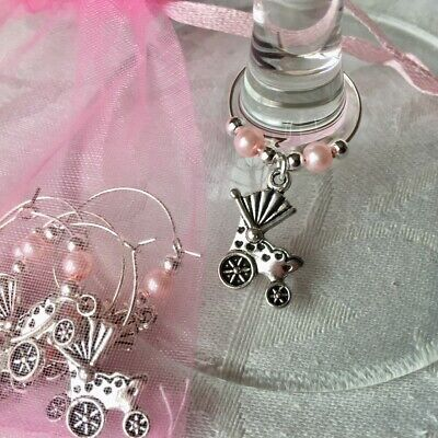 PRAM Baby Shower Wine Glass Charms  6-10 Baby Favours Christenings PINK Reveal • 3.70£
