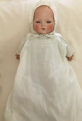 """Antique 15"""" Schoenau & Hoffmeister Bisque Dome Head Character Baby Cloth Body • 198$"""