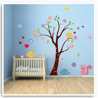 Owl Wall Stickers Tree Jungle Zoo Woodland Nursery Baby Kids Bedroom Art Decal • 8.99£