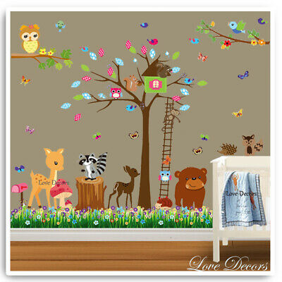 Animal Wall Stickers Owl Monkey Jungle Zoo Nursery Baby Bedroom Kids Decals Art • 14.99£
