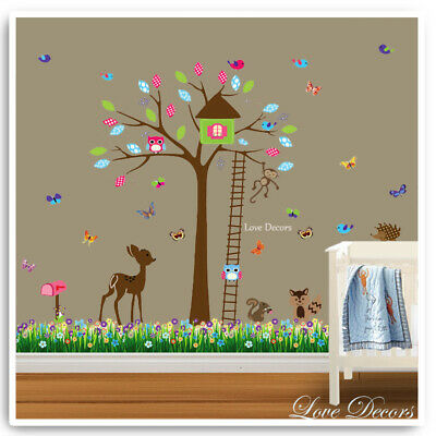 Animal Wall Stickers Owl Monkey Jungle Zoo Nursery Baby Bedroom Kids Decals Art • 9.99£
