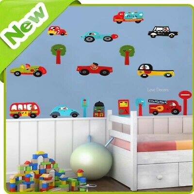 £7.99 • Buy Cars Wall Stickers Bus Fire Engine Police Nursery Baby Boys Bedroom Decal Art