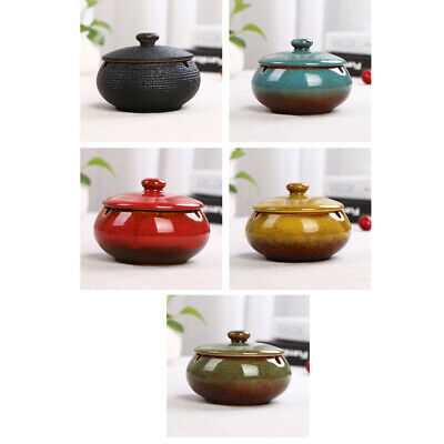 Ceramic Ashtray With Lid & Water Tank Windproof Ash Holder For Smokers • 9.66£