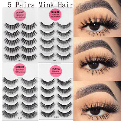 AU2.62 • Buy 💙3D Mink False Eyelashes Wispy Cross Long Thick Soft Fake Eye Lashes 5 Pairs💙