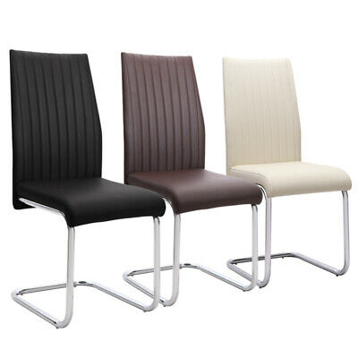 £92.95 • Buy Set Of 2 Dining Chairs Chrome Leather Chair Sets Vertical Line High Back Z Shape