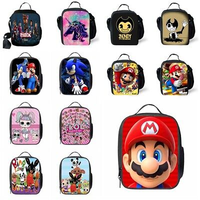 Sonic Super Mario Insulated Lunch Bag School Picnic Snack Box Travel Hand Bag   • 7.99£