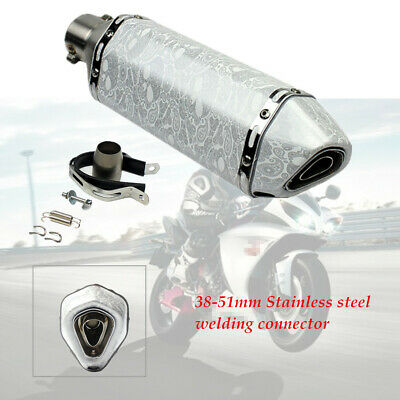 $59.58 • Buy Motorcycle 38-51mm Modified White Scorpion Hexagonal Exhaust Pipe Adapter
