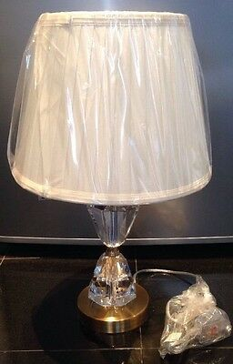 Luxury Premium Crystal Glass - Cream  Pleated Lamp -shade - Bedside Lounge -new • 36.99£