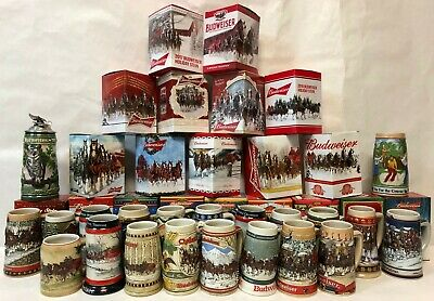 $ CDN1809.71 • Buy COMPLETE SET Of Budweiser Holiday Steins - 1980-2018 - PLUS Two Lim-Ed Steins!