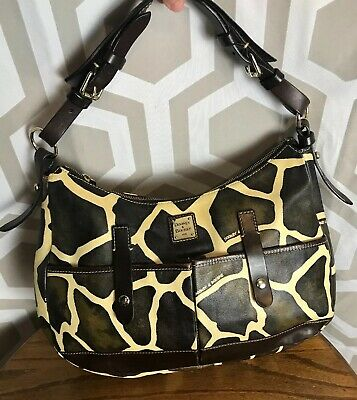 $100 • Buy Dooney Giraffe Print Brown Ivory Leather XL Lucy Shoulder Bag Hobo EUC ShipsFree