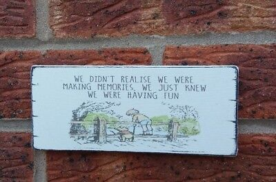 £6.39 • Buy Winnie The Pooh Quote Making Memories Friends Shabby Vintage Chic Sign Plaque