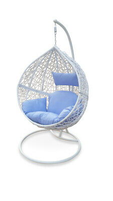 AU399 • Buy Outdoor Swing Hanging Egg/ Pod Chair - White Wicker W Blue Cushions