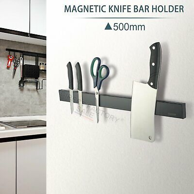 AU23.80 • Buy Black Magnetic Knife Holder Wall Strip Utensil Rack Bar Kitchen Tool Shelf 500mm