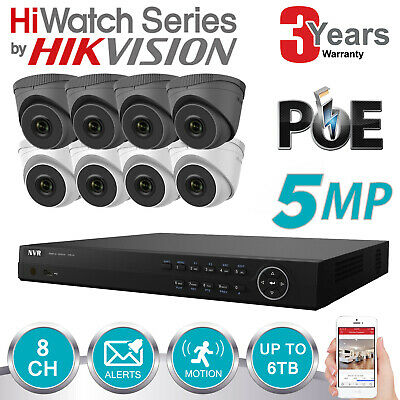Hikvision 6mp Ip Poe Nvr 8ch Cctv Dome Turret Camera 5mp Hd Outdoor Cameras Kit • 476.99£