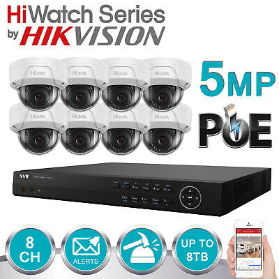 Hikvision Hiwatch Cctv System Ip Poe 8ch Nvr Anti Vandal Dome 5mp 30m Camera Kit • 516.99£