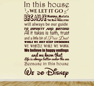 In This House We Do Disney Wall Art Decal Children Decor Stickers Vinyl 120x55cm • 12.99£