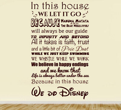 In This House We Do Disney Wall Art Decal Children Decor Stickers Vinyl 90x55cm • 11.99£