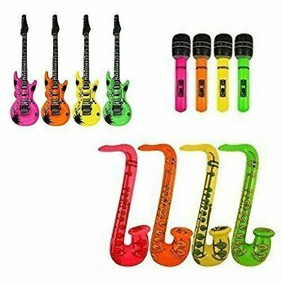 Inflatable Music Instruments Guitar Microphone Saxophone Neon Blow Up Lot 2 Each • 4.89£