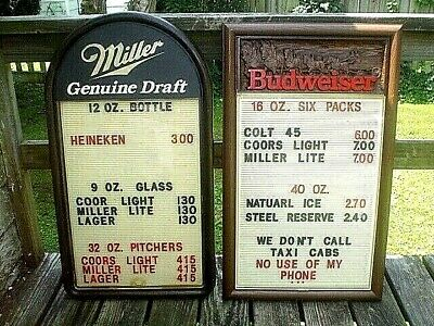 $ CDN196.41 • Buy VINTAGE 1980's BUDWEISER AND MILLER GENUINE DRAFT MESSAGE BOARDS SIGNS