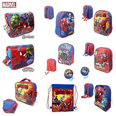 Kids Boys MARVEL SPIDERMAN AVENGERS School Backpack Lunch Box Pencil Book Bag • 6.95£