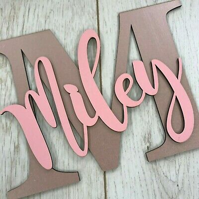 Personalised Painted Wooden Letter With Script Name - ANY NAME/COLOUR WALL SIGN • 12.50£