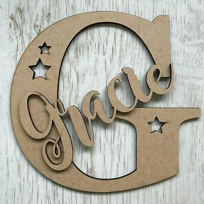 *ANY NAME & LETTER* Personalised Wooden Letter With Script Name & Stars • 2.99£