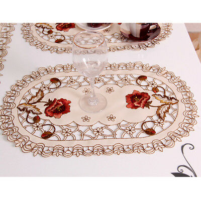 £7.58 • Buy 1/4pcs Embroidered Peony Cutwork Table Placemats Lace Oval Doily Mat Party Decor