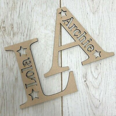 Personalised Wooden MDF Letter With Name - ANY LETTER & NAME - Craft Blank • 5.90£