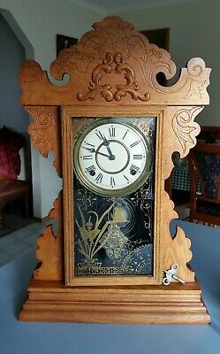 AU399 • Buy Antique Welch Mantle Clock. Collectable 1890 Origanal Gingerbread Pendulum 8 Day