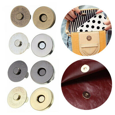 10X Magnetic Snap Fasteners Clasp Buttons Wallet Purse Bag Craft DIY Accessories • 2.39£