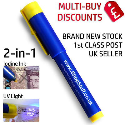 £3.95 • Buy 2 In 1 Uv Counterfeit Fake Forged Money Note Checker Detector Tester Pens (g1)