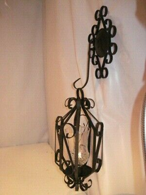 Vintage Black Wrought Iron Indoor Outdoor Candle Light Wall Hung • 15.80£