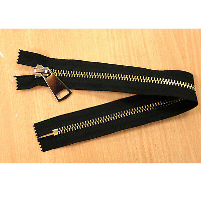 Closed End Job Lot Black Gold Metal Zips 14 Inches 35 Cms Various Quantity Packs • 5.99£