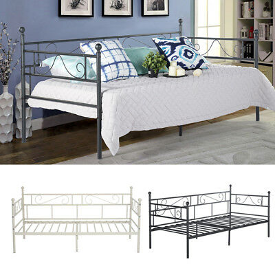 £55.89 • Buy Metal Bed Frame Day Bed With Trundle Single Double Sofa Guest Bed Black/White