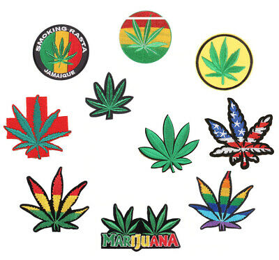 Marijuana Weed Leaf Cannabis - Iron On Embroidery Patch Sew On Badge - Clothes • 2.49£
