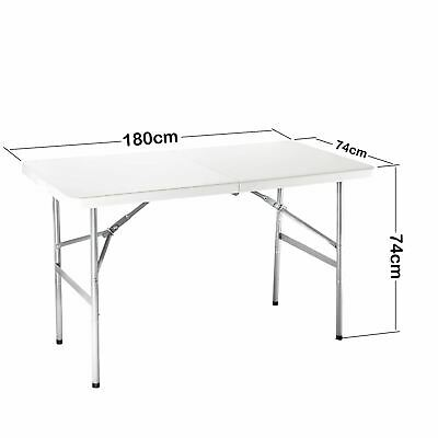 6FT Portable Folding White Trestle Table Heavy Duty Plastic Garden Party Camping • 44.49£
