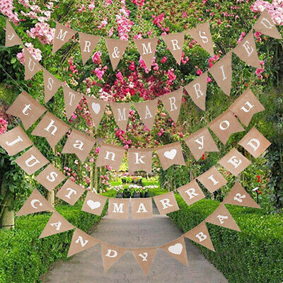Wedding Just Married Jute Hessian Burlap Bunting Vintage Shabby Hanging Banner • 1.09£