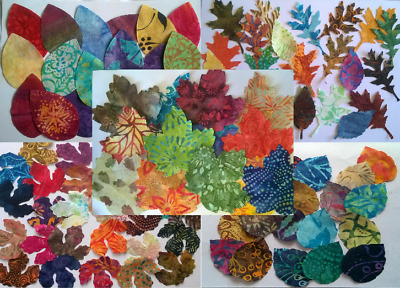 Mixed Batik Leaves Fabric Pack Remnants Patchwork Bundles 100% Cotton • 3.07£