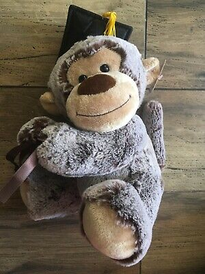"$ CDN19.34 • Buy NWT!! Aurora Plush Monkey Graduation Monkey! Vase Holder! 9"" Tall!"