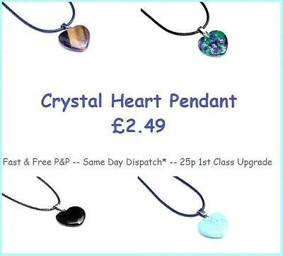 Crystal HEART Pendant With A Choice Of Necklace - Choice Of 6 Natural Crystals • 2.99£