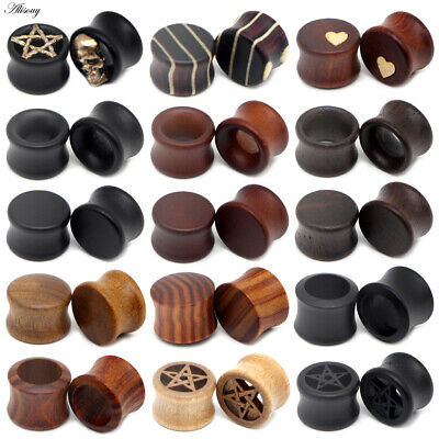 AU3.05 • Buy 8-50mm Hollow Wood Double Flare Flesh Tunnel Ear Plug Expander Stretcher Earring