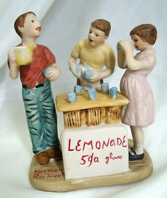 $ CDN17.52 • Buy Vintage 1986 Norman Rockwell Figurine  Lemonade Stand  Gorham Fine Bone China Ex