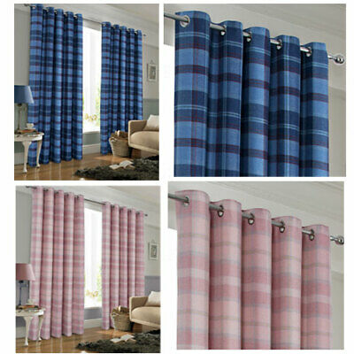 Burlington Faux Wool Boys & Girls Checked Ring Top Curtains Blue & Pink  • 26.25£